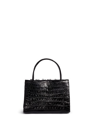 Back View - Click To Enlarge - Nancy Gonzalez - 'Small Wallis' flower appliqué crocodile leather bag