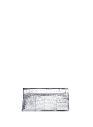 Back View - Click To Enlarge - Nancy Gonzalez - 'Gotham' metallic crocodile leather shoulder strap clutch