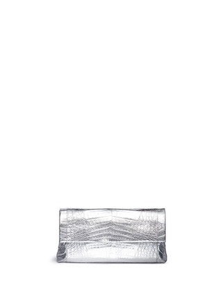 Main View - Click To Enlarge - Nancy Gonzalez - 'Gotham' metallic crocodile leather shoulder strap clutch