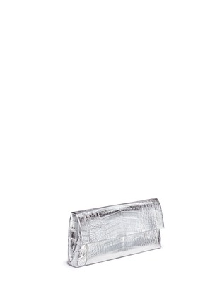 Figure View - Click To Enlarge - Nancy Gonzalez - 'Gotham' metallic crocodile leather shoulder strap clutch