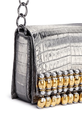 Detail View - Click To Enlarge - Nancy Gonzalez - 'Gio' embellished metallic crocodile leather crossbody bag