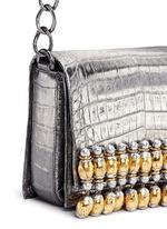 'Gio' embellished metallic crocodile leather crossbody bag