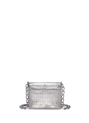 Back View - Click To Enlarge - Nancy Gonzalez - 'Gio' embellished metallic crocodile leather crossbody bag