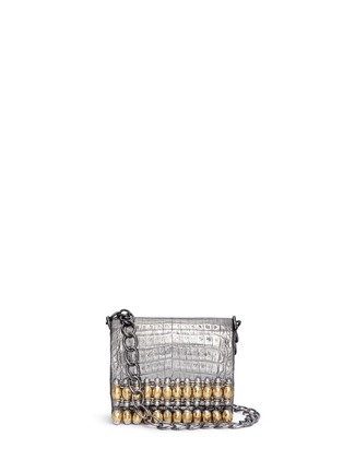 Main View - Click To Enlarge - Nancy Gonzalez - 'Gio' embellished metallic crocodile leather crossbody bag