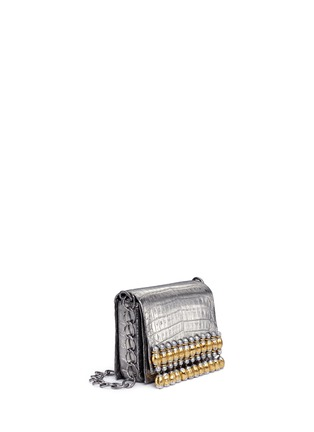 Figure View - Click To Enlarge - Nancy Gonzalez - 'Gio' embellished metallic crocodile leather crossbody bag