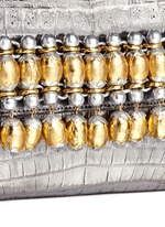 Embellished metallic crocodile leather clutch