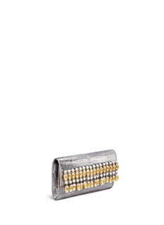 Nancy Gonzalez Embellished metallic crocodile leather clutch