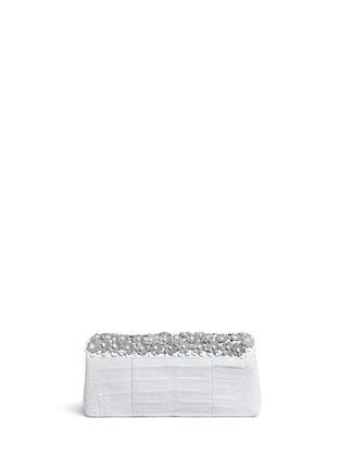 Back View - Click To Enlarge - Nancy Gonzalez - 'Gotham' flower appliqué crocodile leather clutch