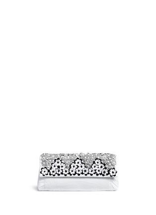 Main View - Click To Enlarge - Nancy Gonzalez - 'Gotham' flower appliqué crocodile leather clutch