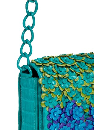 Detail View - Click To Enlarge - Nancy Gonzalez - 'Gio' flower appliqué crocodile leather crossbody bag