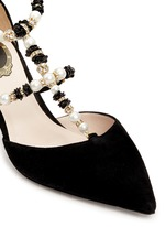 Strass faux pearl T-strap suede pumps