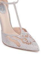 T形搭带仿水晶装饰细跟鞋