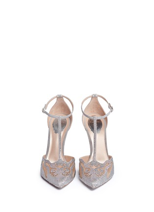 Front View - Click To Enlarge - René Caovilla - Cutout strass pavé suede pumps
