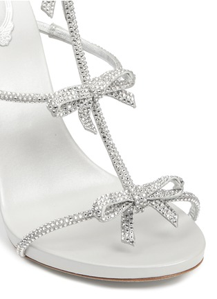 Detail View - Click To Enlarge - René Caovilla - Strass pavé bow satin leather sandals