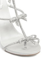 Strass pavé bow satin leather sandals