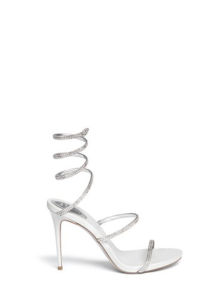 Main View - Click To Enlarge - René Caovilla - 'Snake' strass pavé spring coil anklet sandals