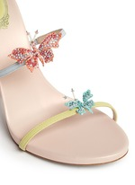 Butterfly appliqué leather spring coil sandals