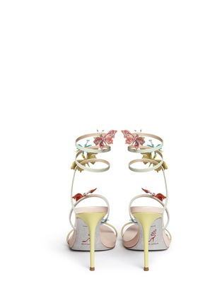 Back View - Click To Enlarge - René Caovilla - Butterfly appliqué leather spring coil sandals