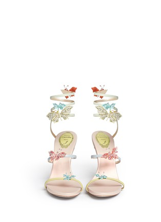 René Caovilla-Butterfly appliqué leather spring coil sandals