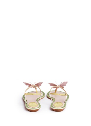 Back View - Click To Enlarge - René Caovilla - Strass border butterfly appliqué T-strap sandals