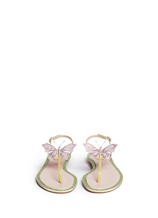 Front View - Click To Enlarge - René Caovilla - Strass border butterfly appliqué T-strap sandals