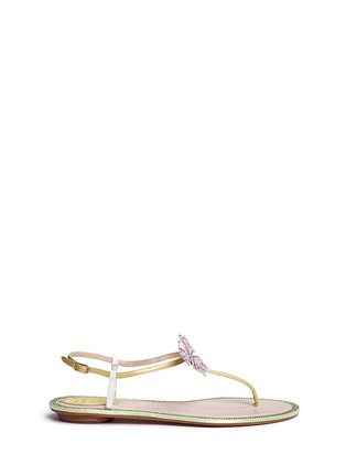 Main View - Click To Enlarge - René Caovilla - Strass border butterfly appliqué T-strap sandals