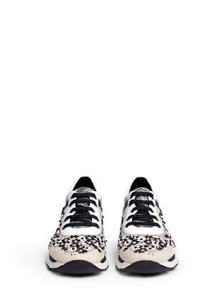 正面 -点击放大 - RENÉ CAOVILLA - 小牛皮拼接蕾丝低筒运动鞋