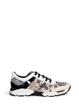 首图 - 点击放大 - RENÉ CAOVILLA - 小牛皮拼接蕾丝低筒运动鞋