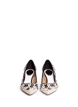 RENÉ CAOVILLA-蕾丝拼真皮贴花高跟鞋
