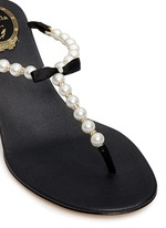 Faux pearl crystal T-strap sandals