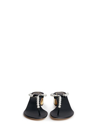Front View - Click To Enlarge - René Caovilla - Faux pearl crystal T-strap sandals