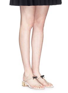 RENÉ CAOVILLAStrass pavé bow satin T-strap sandals