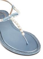 人造珍珠仿水晶装饰平底凉鞋