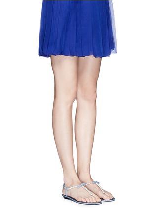 模特儿示范图 - 点击放大 - RENÉ CAOVILLA - 人造珍珠仿水晶装饰平底凉鞋