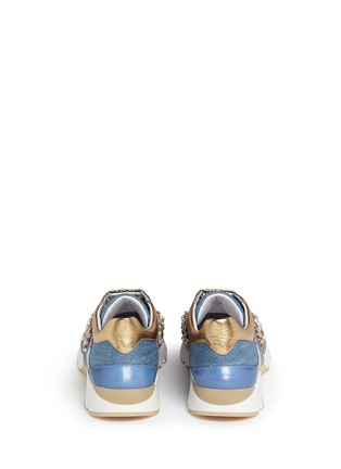 Back View - Click To Enlarge - René Caovilla - 'Running' crystal appliqué leather trim denim sneakers