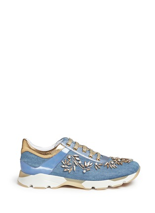 Main View - Click To Enlarge - René Caovilla - 'Running' crystal appliqué leather trim denim sneakers