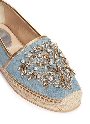 细节 - 点击放大 - RENÉ CAOVILLA - 仿水晶点缀牛仔草编平底鞋