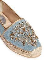 仿水晶点缀牛仔草编平底鞋