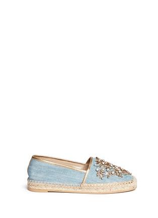 首图 - 点击放大 - RENÉ CAOVILLA - 仿水晶点缀牛仔草编平底鞋