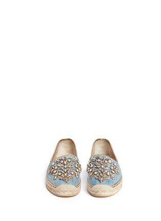 模特儿示范图 - 点击放大 - RENÉ CAOVILLA - 仿水晶点缀牛仔草编平底鞋