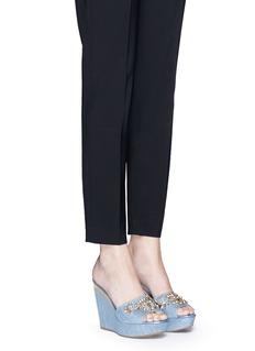 RENÉ CAOVILLAStrass appliqué denim wedge sandals