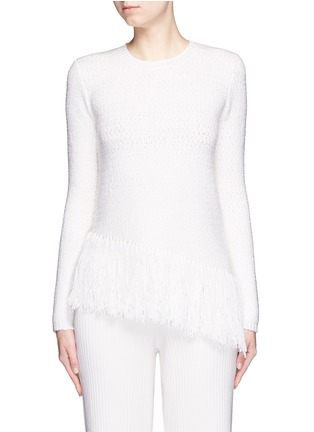 Main View - Click To Enlarge - Theory - 'Hudina R' fringe hem bouclé knit sweater