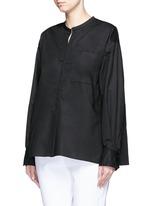 Split neckline poplin shirt
