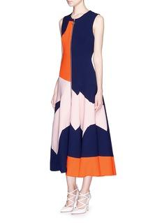 ROKSANDA'Celeste' geometric panel wool crepe midi flare dress