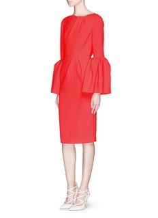ROKSANDA'Margot' pleat sleeve ruche wool crepe dress