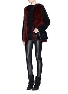 H BRAND'Libby' long rabbit fur knit gilet