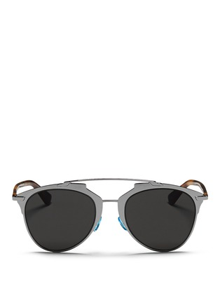 Main View - Click To Enlarge - Dior - 'Dior Reflected' double bridge wire frame aviator sunglasses