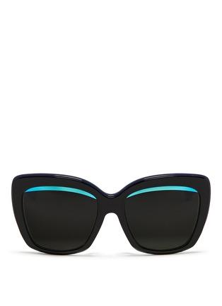Main View - Click To Enlarge - Dior - 'Dior Graphic F' mirror stripe cat eye acetate sunglasses