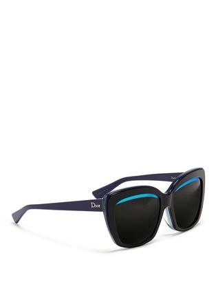Figure View - Click To Enlarge - Dior - 'Dior Graphic F' mirror stripe cat eye acetate sunglasses