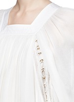 Ladder stitch embroidery silk gauze blouse